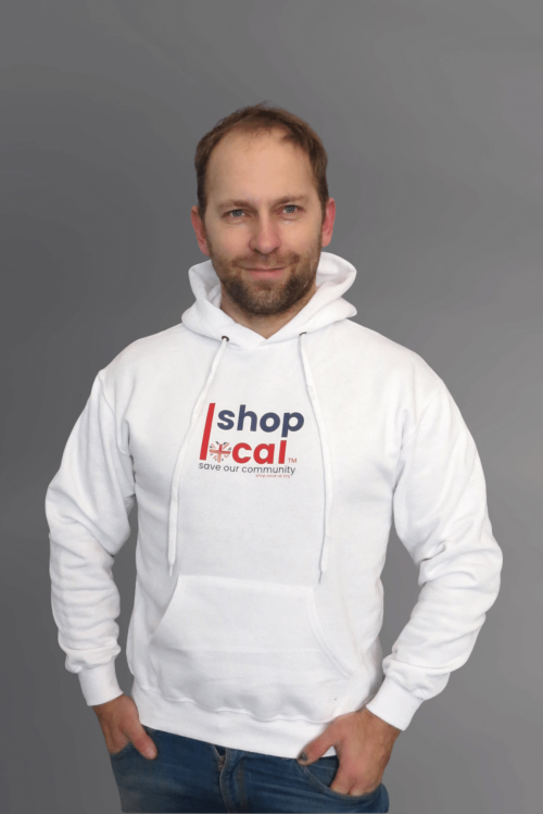 Adult Hooded Sweatshirts - White - Square